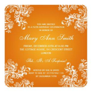 50th Birthday Party Vintage Swirls 2 Orange 13 Cm X 13 Cm Square Invitation Card