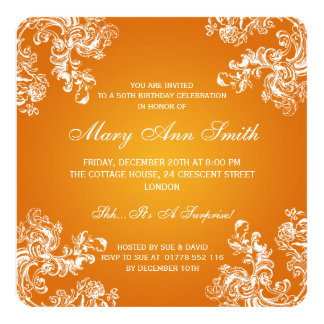 "50th Birthday Party Vintage Swirls 2 Orange 5.25"" Square Invitation Card"