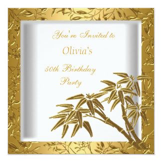 50th Birthday Party White Gold Bamboo Floral Asian 13 Cm X 13 Cm Square Invitation Card