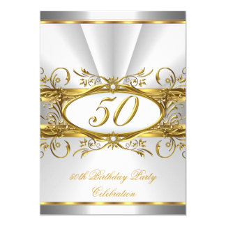 50th Birthday Party White Gold Floral Silver 13 Cm X 18 Cm Invitation Card