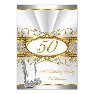 50th Birthday Party White Gold Silver Heels 13 Cm X 18 Cm Invitation Card