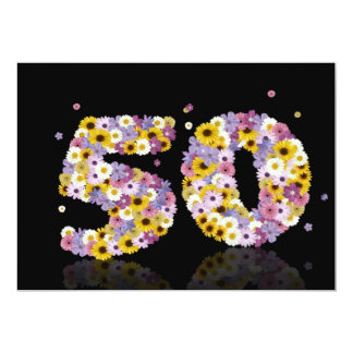 50th Birthday party, with flowered letters Personalized Invite
