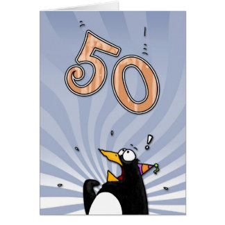 50th Birthday - Penguin Surprise Card