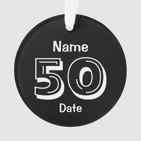 50th Birthday Personalised Gag Gift Black White Ornament