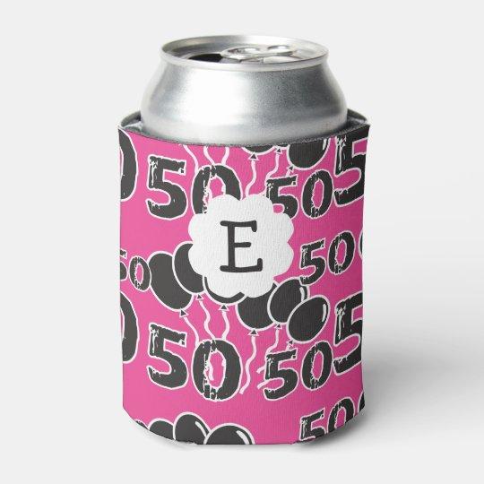 50th Birthday Personalised Monogram PINK BLACK Can Cooler