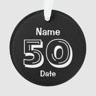 50th Birthday Personalized Gag Gift Black White Ornament