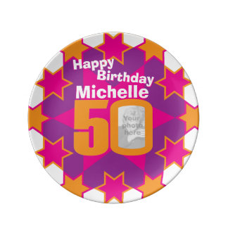 50th birthday photo and name pink star plate porcelain plates