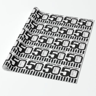 50th Birthday photo fun black and white wrapping Wrapping Paper