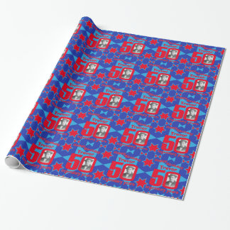 50th Birthday photo fun blue red gift wrap