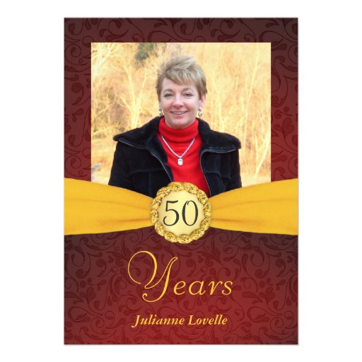 50th Birthday Photo Invitations - Red and Gold