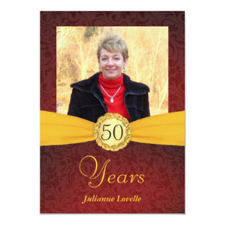 """50th Birthday Photo Invitations - Red and Gold 5"""" X 7"""" Invitation Card"""