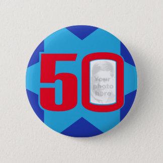 50th Birthday photo star button/badge 6 Cm Round Badge