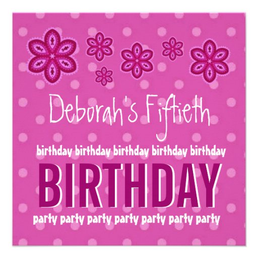 50th Birthday Pink Pattern Custom Name For Her Announcements