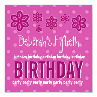 50th Birthday Pink Pattern Custom Name For Her 13 Cm X 13 Cm Square Invitation Card