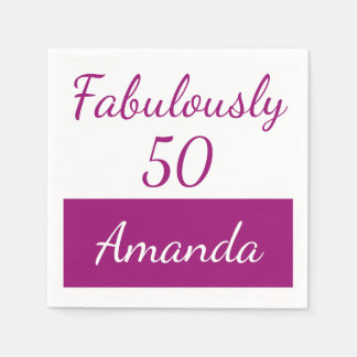 50th birthday Pink Personalize fabulously 50 Disposable Napkin