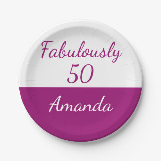 50th birthday Pink Personalize fabulously 50 Paper Plate
