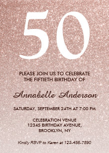 50th birthday invitations announcements zazzle uk 50th birthday pink rose gold glitter sparkle ombre invitation filmwisefo