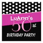 50th Birthday Pink White Red Polka Dots D422 Personalised Announcements