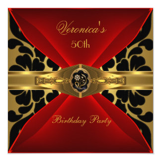 50th Birthday Red Gold Black Damask Floral Jewel 5.25x5.25 Square Paper Invitation Card