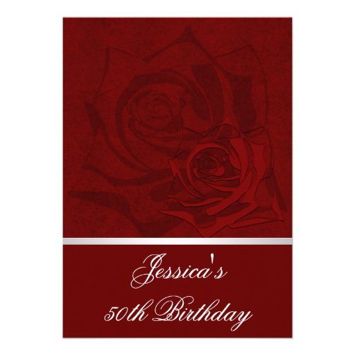 50th Birthday Red Roses White Satin Trim Party Invite