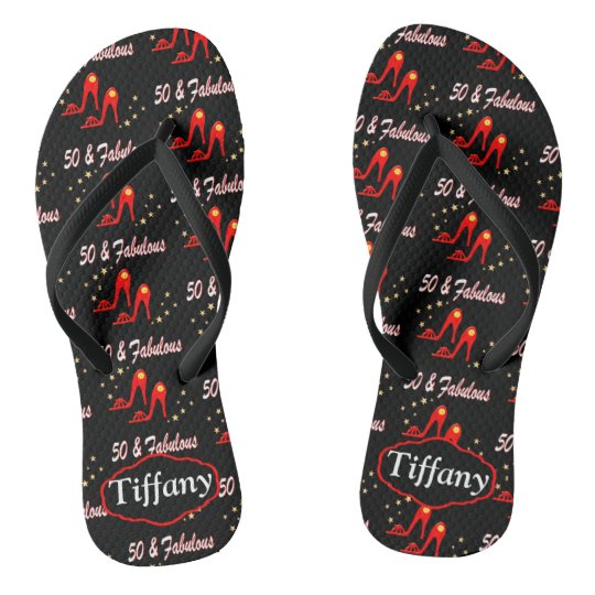 50TH BIRTHDAY RED SHOE PERSONALIZED FLIP FLOPS