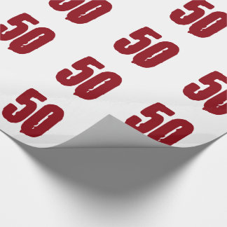 50th Birthday, red text on white. Wrapping Paper