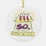 50th Birthday Round Ceramic Decoration
