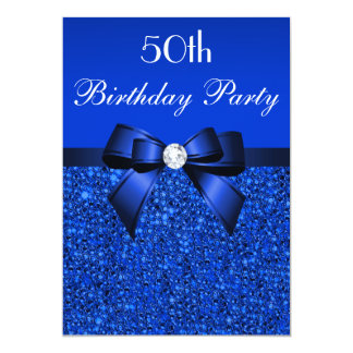 50th Birthday Royal Blue Sequins Bow and Diamond Card