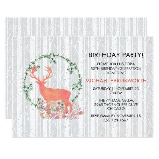 50th Birthday Rustic Watercolor Reindeer Boho Card