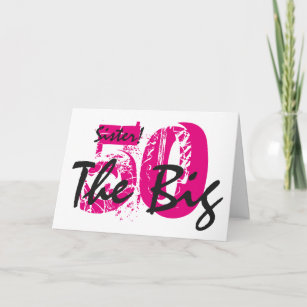 50th Birthday Sister Pink Black Text On White Card