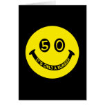 50th birthday Smiley Face, It's only a number! Greeting Card