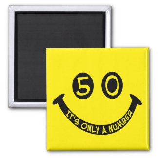 50th birthday Smiley Face, It's only a number! Square Magnet
