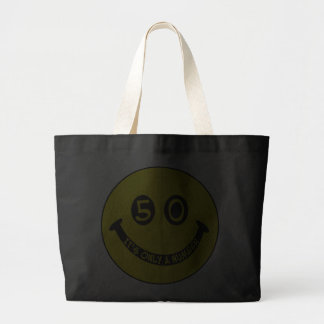 50th birthday Smiley Face, It's only a number! Tote Bags