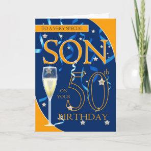 50th Birthday Son - Champagne Glass Card