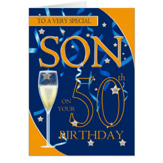 50th Birthday Son - Champagne Glass Greeting Card