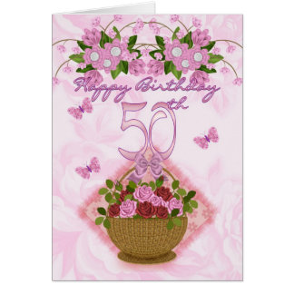 50th Birthday Special Lady Roses And Flowers - 50 Greeting Card