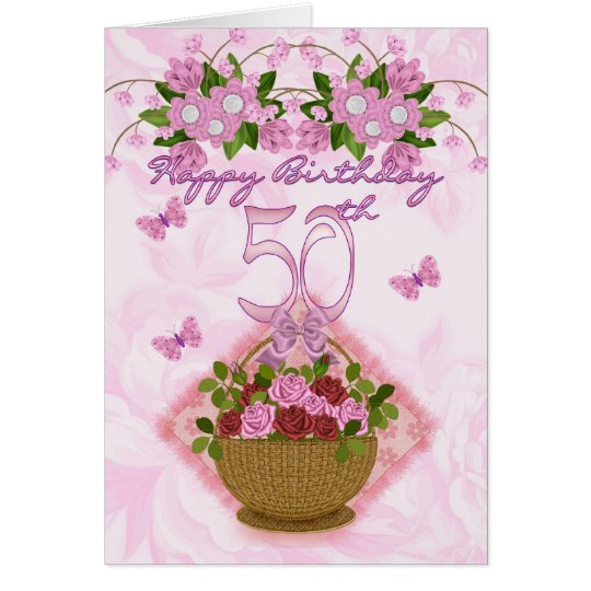 50th Birthday Special Lady, Roses And Flowers - 50 Card