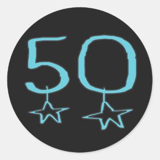 50th Birthday Stars Round Sticker