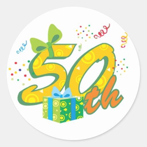 50th Birthday Stickers Round Sticker