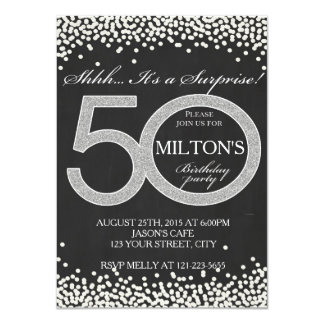 50th Birthday surprise party invitation card man