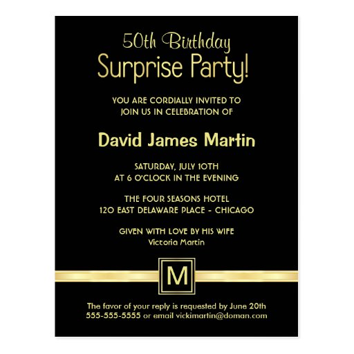 50th Birthday Surprise Party - Sample Invitations Postcards