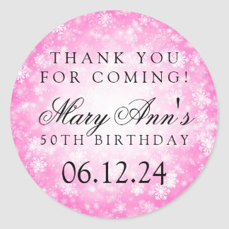 50th Birthday Thank You Pink Winter Wonderland Classic Round Sticker