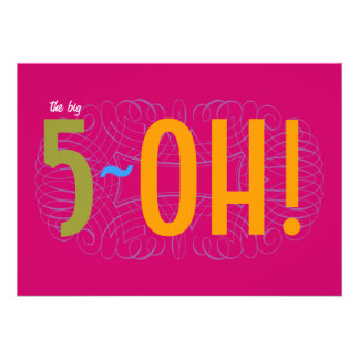 50th Birthday - the Big 5-OH Custom Invites