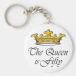 50th birthday The Queen is 50! Basic Round Button Key Ring
