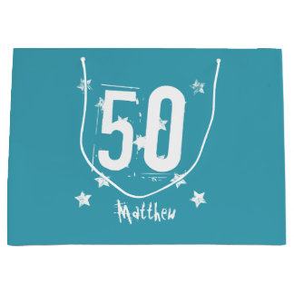 50th Birthday Trendy Grunge Letters Stars Z05 Teal Large Gift Bag