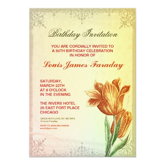 50th birthday vintage design birthday invitations