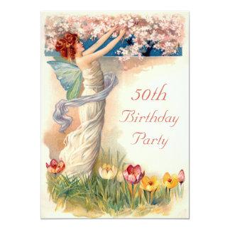 50th Birthday Vintage Fairy Blossom 13 Cm X 18 Cm Invitation Card