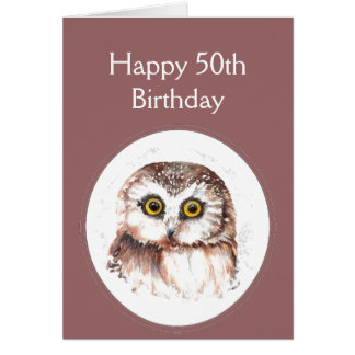 50th  Birthday Who Loves You, Cute Owl Humour Card