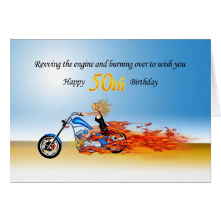 50th Birthday with a Flaming Motorcycle Greeting Card