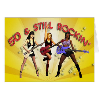 50th birthday with a girl band greeting card